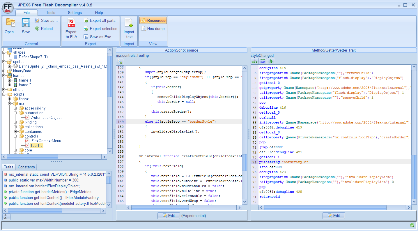 JPEXS Free Flash Decompiler - Opensource SWF decompiler and